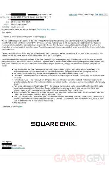 mail leake final fantasy vii square enix
