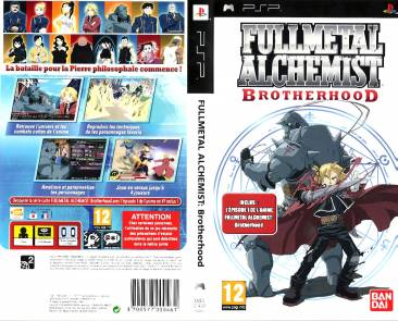 Fullmetal alchemist brotherhood jaquette full cover PSP